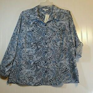 Studio Works 3X Button-up Shirt Paisley Blue